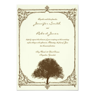 Vintage Brown Oak Tree on Cream Wedding Invitation
