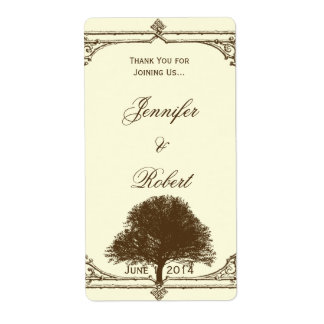 Vintage Brown Oak Tree on Cream Wine Label
