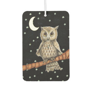 Vintage Brown Owl Necklace Crescent Moon Stars Air Freshener
