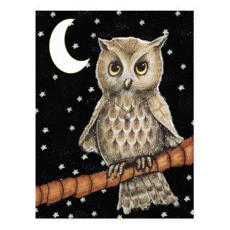 Vintage Brown Owl Necklace Crescent Moon Stars Postcard