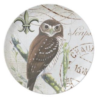 vintage brown owl plate