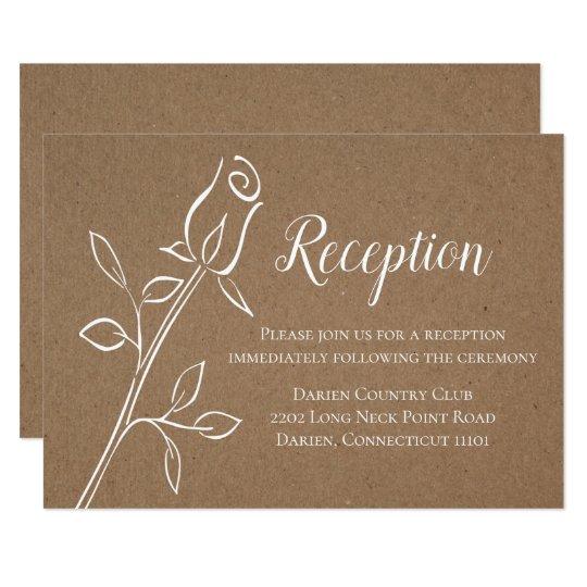 Vintage Brown Reception Country Kraft Wedding Card