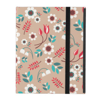 Vintage Brown Red Blue Floral Flowers Pattern iPad Cover