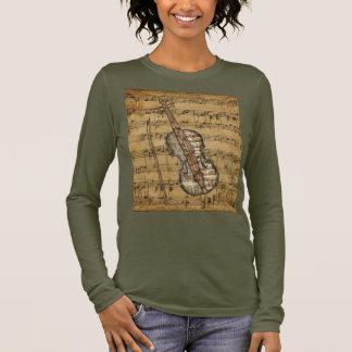 Vintage Brown Sheet Music Violin Long Sleeve T-Shirt