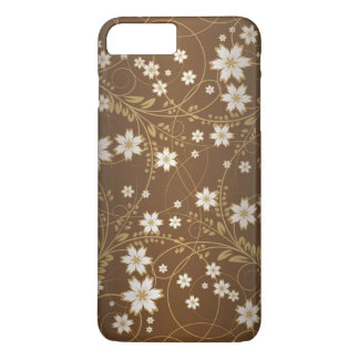 vintage brown swirl floral art iPhone 7 plus case