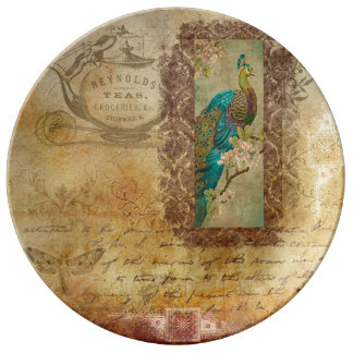 Vintage Brown Text and Turquoise Peacock Plate Porcelain Plate