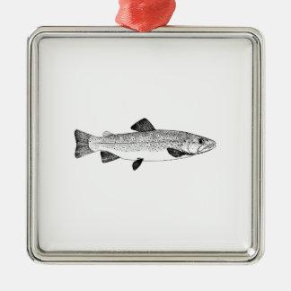 Vintage Brown Trout Illustration Silver-Colored Square Ornament