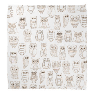 Vintage brown white cute funny little owl pattern bandana
