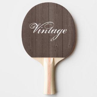 Vintage brown wood grain panel ping pong paddle