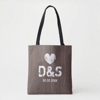 Vintage brown wood grain rustic wedding tote bags