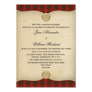 Vintage Bruce Family Tartan Plaid Wedding Card