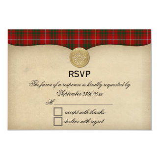 Vintage Bruce Family Tartan Plaid Wedding RSVP Card