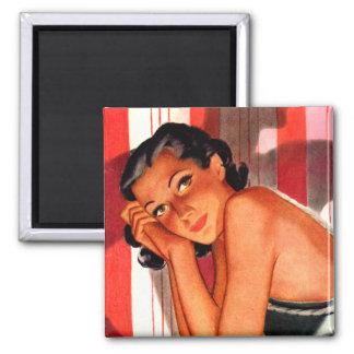 Vintage Brunette Beauty Pinup Magnet