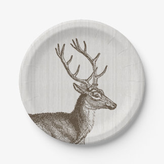 Vintage Buck Deer Paper Plates