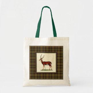 Vintage Buck Deer with Plaid Tote Bag