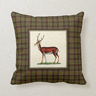 Vintage Buck Deer with Rustic Moss Fall Plaid Throw Pillow