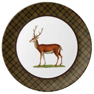 Vintage Buck Deer with Rustic Plaid Plate