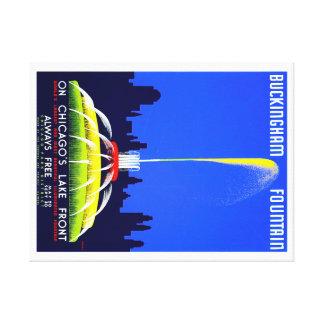 Vintage Buckingham Fountain Chicago WPA Poster Canvas Print
