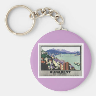 Vintage Budapest Hungary Basic Round Button Keychain