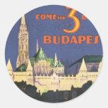 Vintage Budapest Round Sticker
