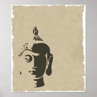 Vintage buddha shabby chic elegant hipster zen poster