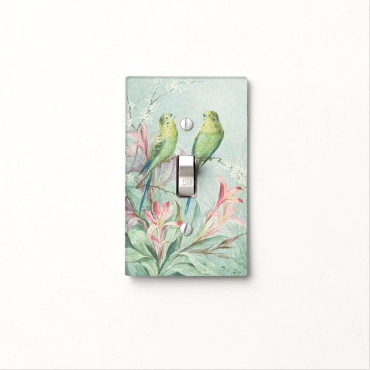 Vintage Budgerigars Bird Branch Pink Flowers Decor Light Switch Cover