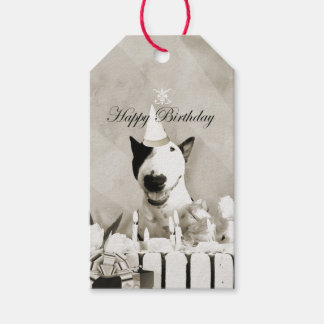 "Vintage Bull Terrier ""Happy Birthday"" Gift Tag"