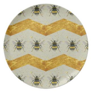 Vintage Bumblebee & Gold Chevron Melamine Plate
