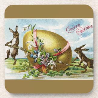 Vintage Bunnies and Golden Easter Egg Coaster