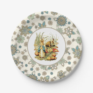 Vintage Bunny Easter Party Paper Plates
