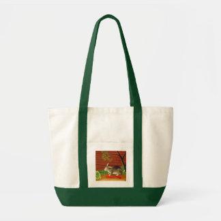 Vintage Bunny Rabbit Art Painting Canvas Bags