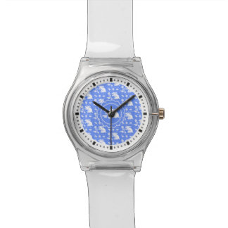 Vintage Bunny Rabbit with Flower Blue and White Watch