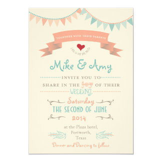 Vintage Bunting Whimsical Wedding Invitation