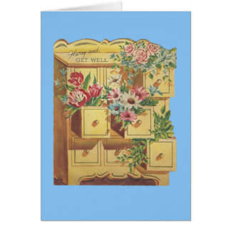 Vintage Bureau Of Get Well Wishes Card