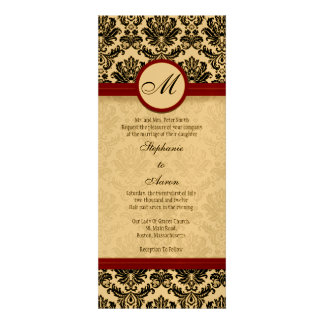 Vintage Burgundy Damask Wedding Invitation