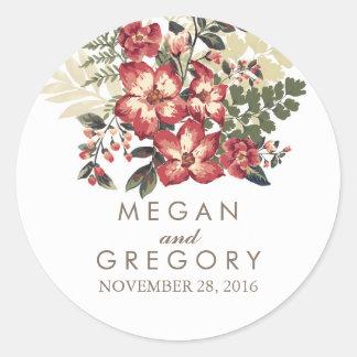 vintage burgundy flowers wedding round sticker