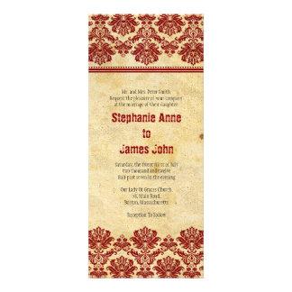 Vintage Burgundy Lace Wedding Invitation