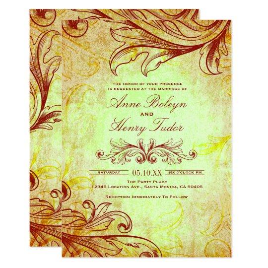 Vintage Burgundy Wedding Invitations