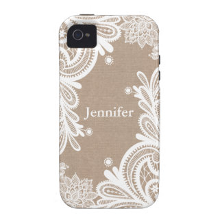 Vintage Burlap and Lace Case Case-Mate iPhone 4 Cover