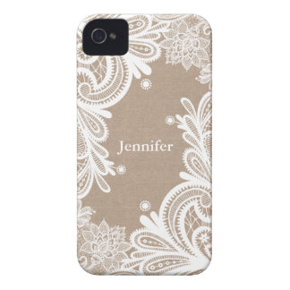Vintage Burlap and Lace Case iPhone 4 Cases