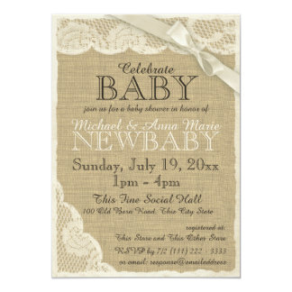 """Vintage Burlap and Lace with Bow Baby Shower 5"""" X 7"""" Invitation Card"""