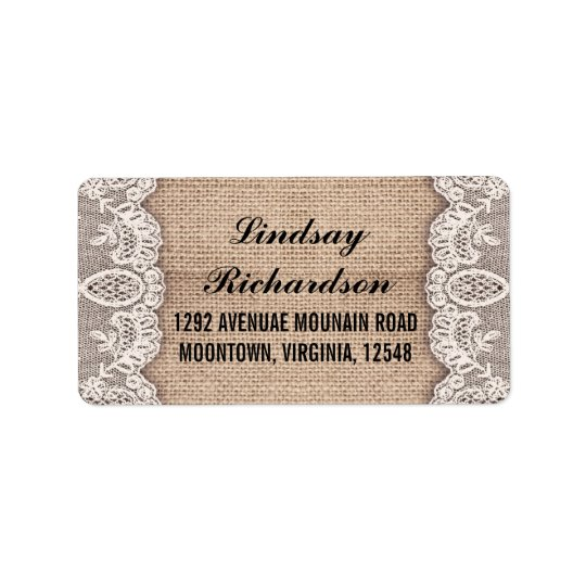 vintage burlap and white lace address labels