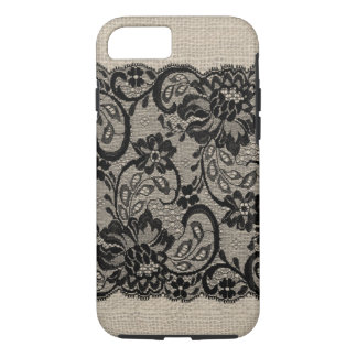 Vintage Burlap & Black Lace iPhone 7 case