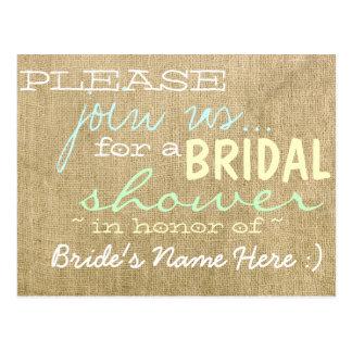 Vintage Burlap Country Bridal Shower Invitation Postcard