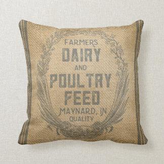 Vintage Burlap Feed Sack Throw Pillow