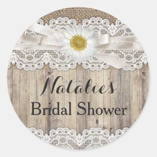 Vintage Burlap Lace & Daisy Bridal Shower Sticker