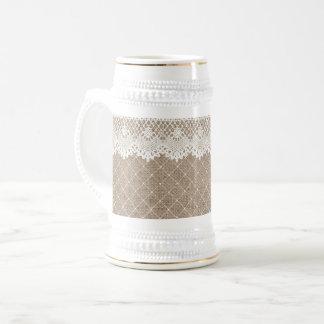 Vintage Burlap Lace Ladies Beer Stein White Gold