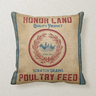 Vintage Burlap Poultry Feed Sack Throw Pillow