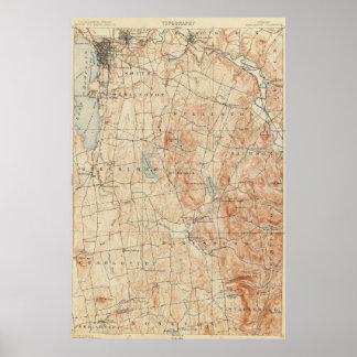 Vintage Burlington Vermont Topographic Map (1904) Poster