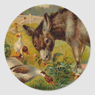 Vintage Burro With Geese Classic Round Sticker